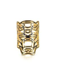 KENZO - Metallic Gold Plated Maxi Tiger Ring - Lyst