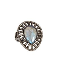Bavna - Blue Teardrop Labradorite & Diamond Pavé Cocktail Ring - Lyst