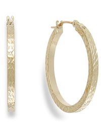 Macy's | Metallic Diamond-cut Hoop Earrings In 10k Gold, 25mm | Lyst
