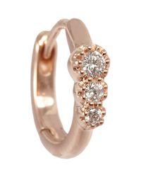 Stone - Metallic Diamond & White Gold Creole Mini Hoop Earring - Lyst