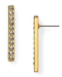 T Tahari - Metallic Pave Bar Earrings - Lyst