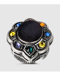Gucci - Black Ring With Velvet And Crystals - Lyst