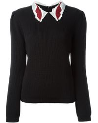 RED Valentino - Black Embroidered Collar Sweater - Lyst