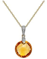 Macy's | Metallic Briolette Citrine (5-1/2 Ct. T.w.) And Diamond Accent Pendant In 14k Gold | Lyst