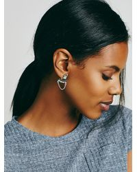 Free People - Metallic Satellite Front To Back Stud - Lyst