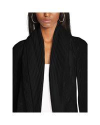Ralph Lauren Black Label | Black Cabled Cashmere Open Cardigan | Lyst
