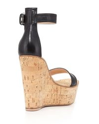 Gianvito Rossi - Black Nappa Leather and Cork Wedge Sandals - Lyst