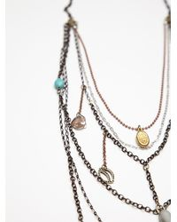 Free People - Gray Multi Charm Rosary - Lyst