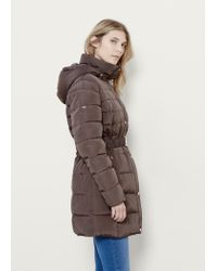 Violeta by Mango | Brown Quilted Feather Coat | Lyst