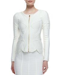Hervé Léger - White Origami Zip-front Jacket - Lyst