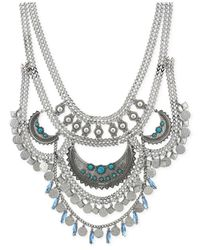 BCBGeneration - Metallic Silver-tone Multi-row Drama Necklace - Lyst