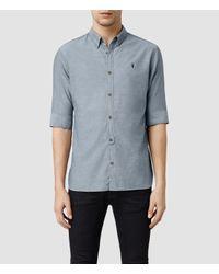AllSaints | Blue Hermosa Half Sleeved Shirt for Men | Lyst
