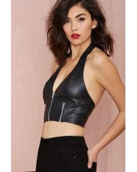 Nasty Gal - Black Right To Party Vintage Leather Crop Top - Lyst