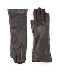 Saks Fifth Avenue | Gray Cashmere-lined Leather Gloves | Lyst