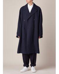 Marni - Blue Black Washed Linen Coat for Men - Lyst
