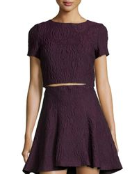 Alice + Olivia - Purple Sarina Jacquard Crop Top - Lyst