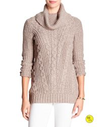 Banana Republic | Natural Factory Cable-knit Cowl-neck Sweater | Lyst