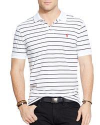 Polo Ralph Lauren - White Striped Performance Mesh Polo Shirt - Slim Fit for Men - Lyst