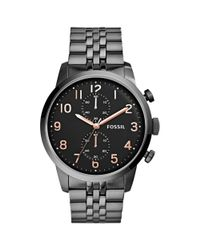 Fossil - Black Townsman Smoke Tone Stainless Steel Bracelet Watch  for Men - Lyst