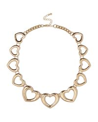 River Island - Yellow Gold Tone Heart Repeat Necklace - Lyst