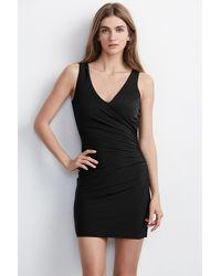 Velvet By Graham & Spencer - Black Sully Stretch Jersey Crossover Dress - Lyst