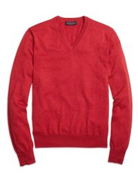 Brooks Brothers | Red Supima® Cotton V-neck Sweater for Men | Lyst