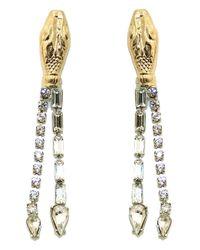 Tom Binns | Metallic Long Snake Crystal Earrings | Lyst