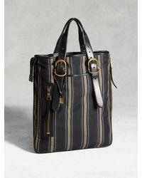 John Varvatos - Blue Bleeker Expandable Zip Shopper Stripe Bag for Men - Lyst