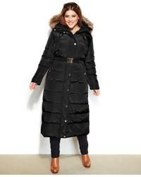 1c5c0cf788 Lyst - Michael Kors Michael Plus Size Hooded Faux-Fur-Trim Belted ...