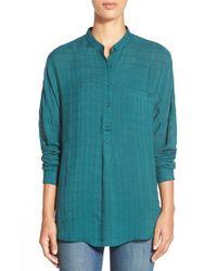 Pleione | Green One Pocket Plaid Jacquard Blouse | Lyst