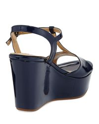 Dee Keller - Black Stephanie Patent T-strap Wedge Sandal - Lyst