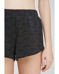 Forever 21 - Black Floral-embroidered Shorts - Lyst