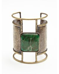 Free People | Green Embossed Plate Cuff | Lyst