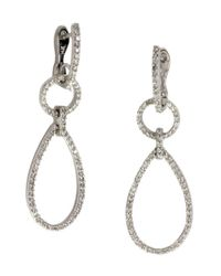 Effy - Metallic Pave Classica Diamond And 14k White Gold Teardrop Earrings, 0.80 Tcw - Lyst