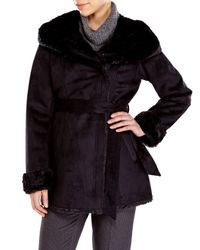 Jones New York | Black Faux Fur Lined Coat | Lyst