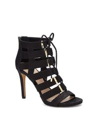 Vince Camuto | Black Freshi- Cage Lace Up Heeled Sandal | Lyst