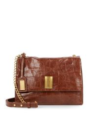 Badgley Mischka - Brown Mila Embossed Leather Crossbody Bag - Lyst