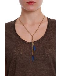 Isabel Marant - Blue Feather Chain Necklace - Lyst