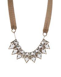 Mango | Metallic Mixed Stones Triangles Statement Collar | Lyst
