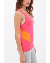 Forever 21 - Pink Active Mesh-paneled Performance Tank - Lyst