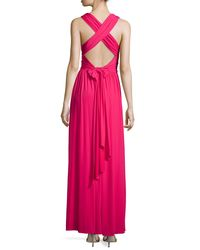 Halston - Pink Cross-Back Jersey Gown - Lyst