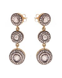 Kastur Jewels - Metallic Triple Drop Earrings - Lyst