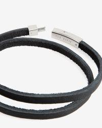 Ted Baker - Black Flat Leather Bracelet for Men - Lyst