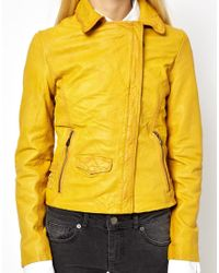 Doma Leather | Yellow Leather Moto Jacket with Hidden Access | Lyst
