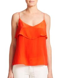 Joie - Red Abelia Ruffled Silk Tank Top - Lyst