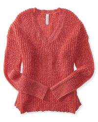Aéropostale | Red Long Sleeve V-neck Sweater | Lyst