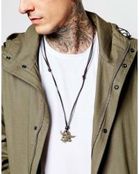 ASOS - Black Leather Necklace With Burnished Copper Circles for Men - Lyst