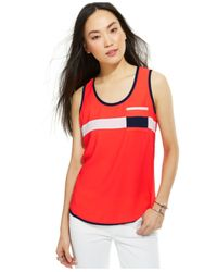 Tommy Hilfiger - Red Colorblock Pipe-Trim Tank Top - Lyst