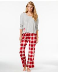 Lucky Brand | Gray Long Sleeve Top And Pajama Pants Set | Lyst