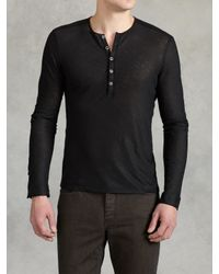 John Varvatos | Black Linen Henley for Men | Lyst